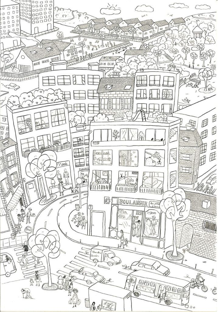 City coloring pages boutique dessin