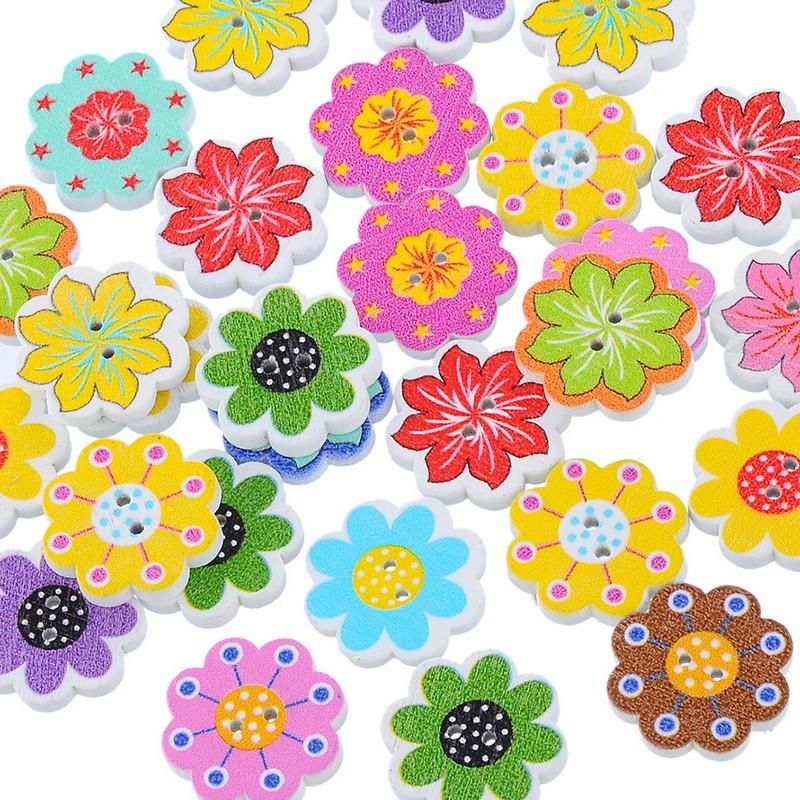 100pcs Assorted Flower 2 Hole Wooden Button Flatback for Sewing Scrapbooking