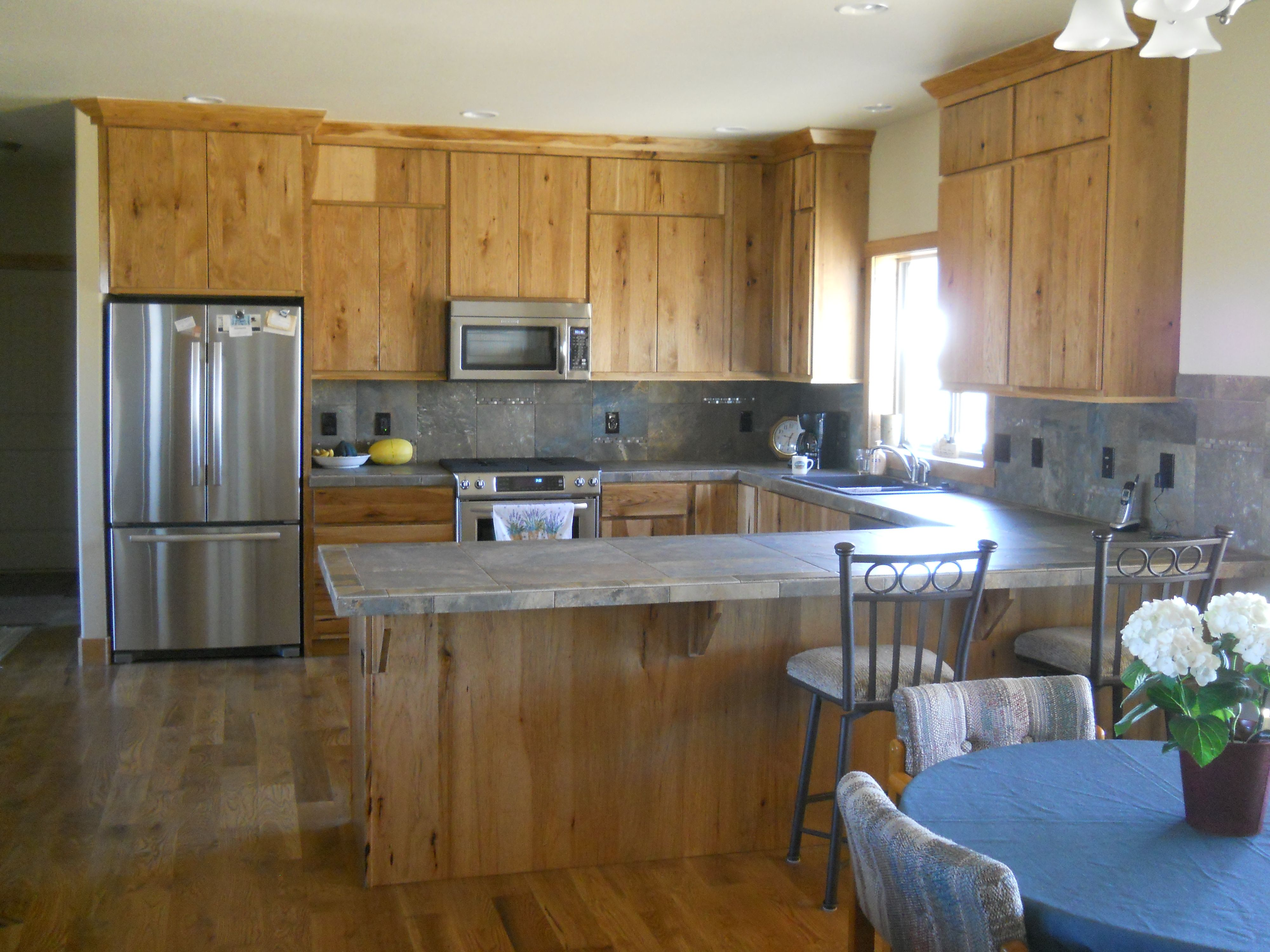 Kitchen Island Ideas For L Shaped Kitchens kitchen bar with unstained <b>hickory</b> <b>cabinets</b> wooden