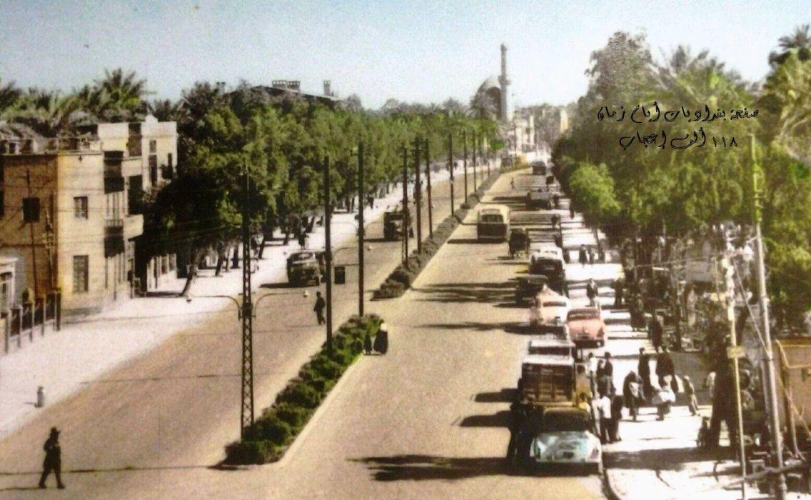 شارع الإذاعة والتلفزيون الصالحية عام 1955 وهو الواصل بين ساحة الملك فيصل الأول مع جامع الشاوي على يمين الصورة مبنى الإذاعة والتلفزيون Baghdad Baghdad Iraq Iraq