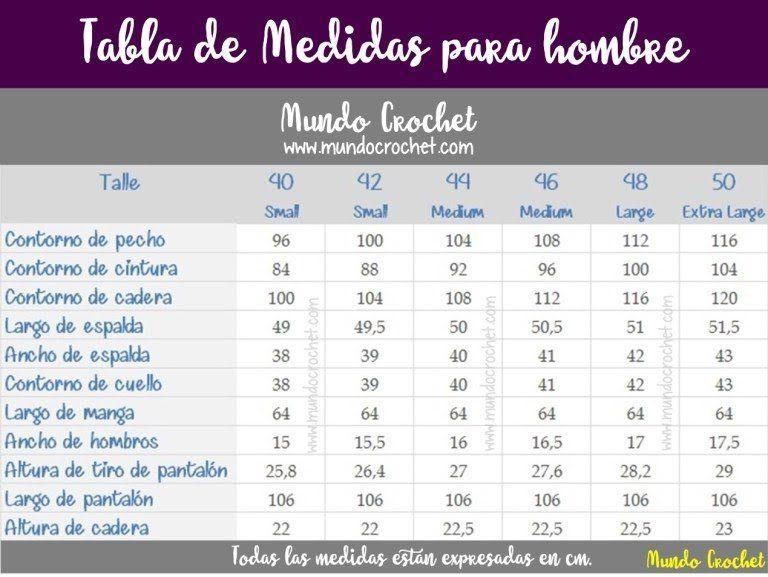 Tabla de medidas para hombre tejidos crochet ganchillo | Medidas ...