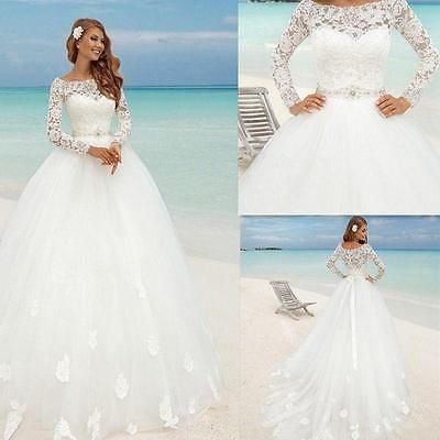 Princess Lace Bridal Ball Gowns Modest Country Wedding Dress Muslim ...