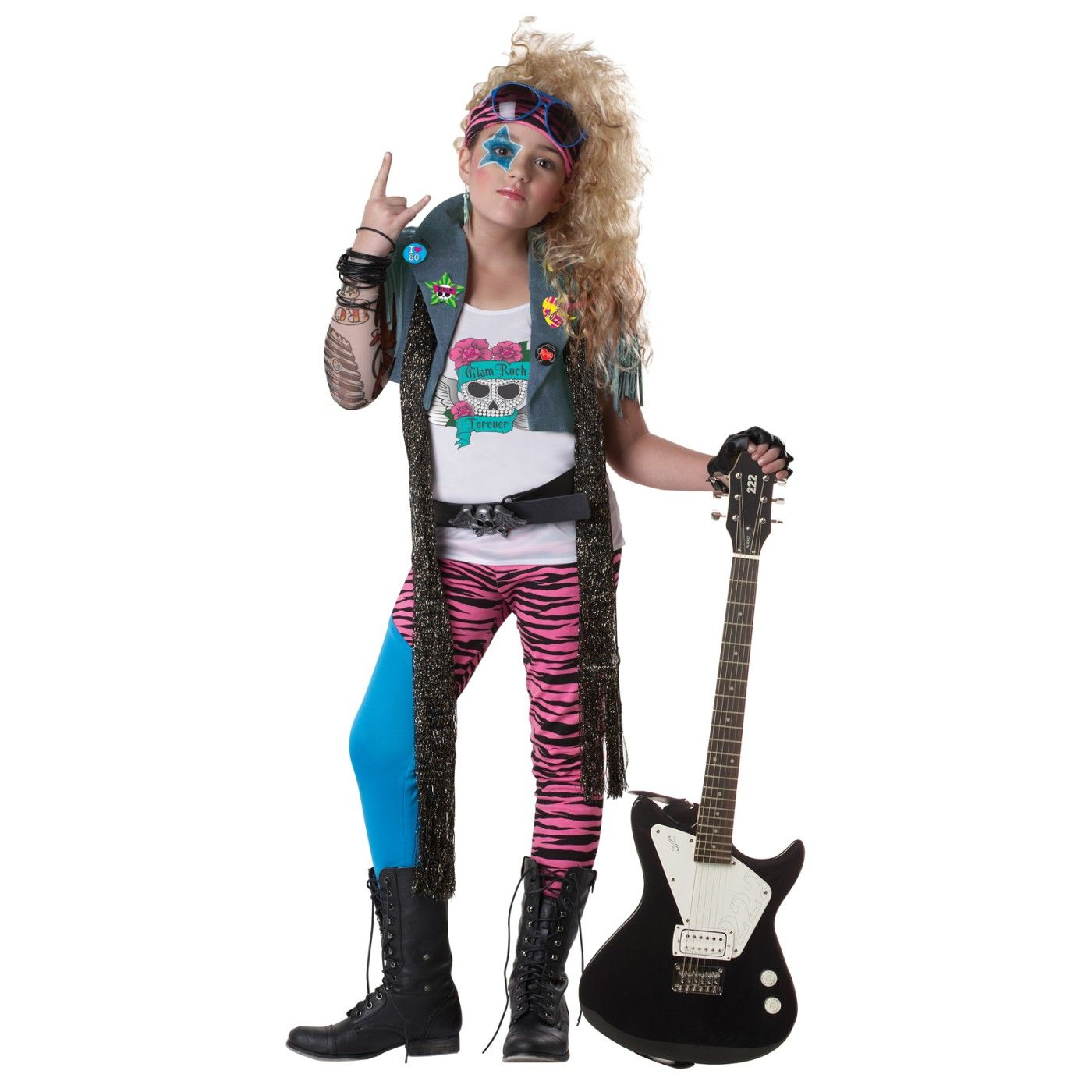 This glam rocker is ready to party the night away! Glam Rocker Kids Costume includes vest with fringe detailing a tattoo sleeve white screen skeleton.  sc 1 st  Pinterest : rocker chick halloween costume  - Germanpascual.Com