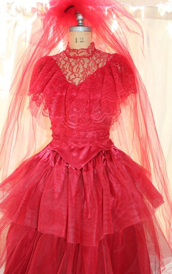 Lydia Deetz Red Wedding Dress Costume