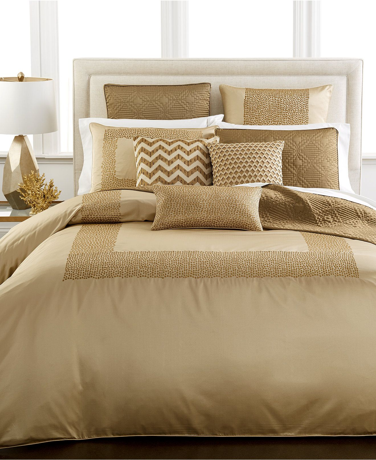Hotel Collection Mosaic Bedding Collection Bedding Collections Bed Bath Macy S Bed Linens Luxury Bed Linen Sets Gold Bedding Sets