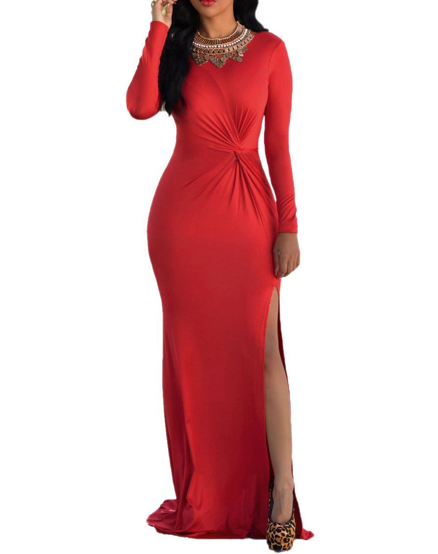Madeenvy long sleeves front knot high side slit gown products