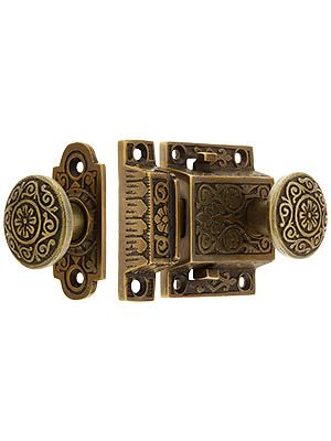 High Quality Decorative Cast Brass Screen Door Latch Set In Antique By Hand