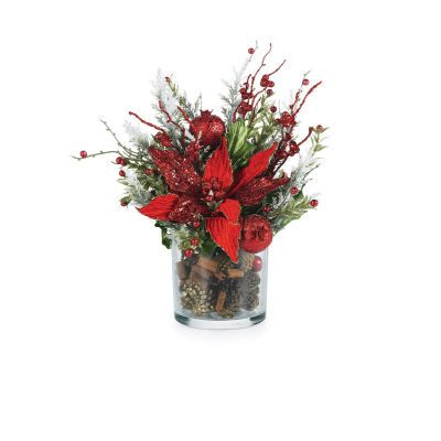 holiday arrangements pine poinsettia christmas centerpieces table flower floral cones cinnamon arrangement centerpiece poinsettias berries cone glitter tables decorating flowers