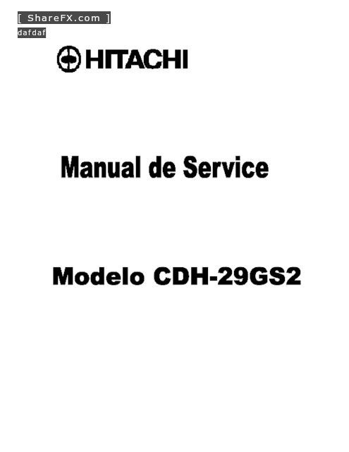Hitachi CDH-29GS2 CRT TV Service.pdf free manual download