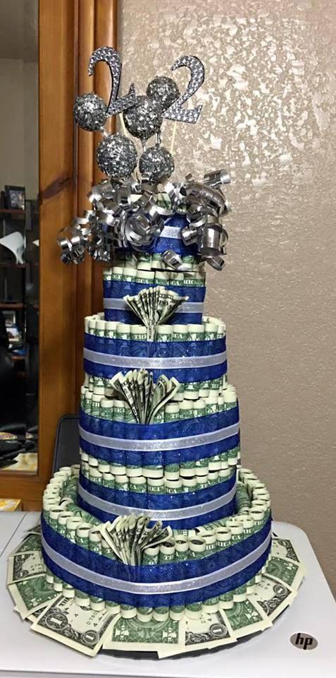 Custom birthday blue and silver money cake by babycakesbysuziq my baby cakes pinterest - Money cake decorations ...