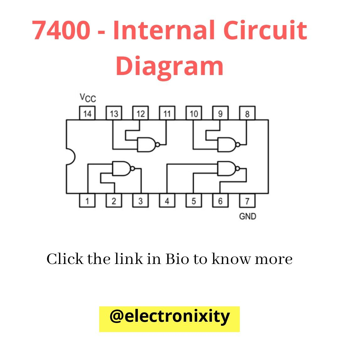 7400 quad two input nand gate internal circuit diagram [ 1080 x 1080 Pixel ]