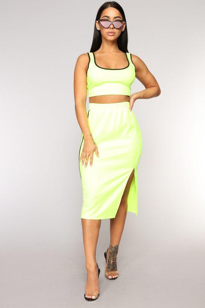 7c3d48738 Track Team Skirt Set - Neon Yellow | Fashion Nova | Matching Sets ...