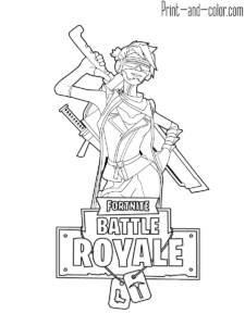 Fortnite battle royale coloring page ninja female skin for Fortnite disegni da colorare