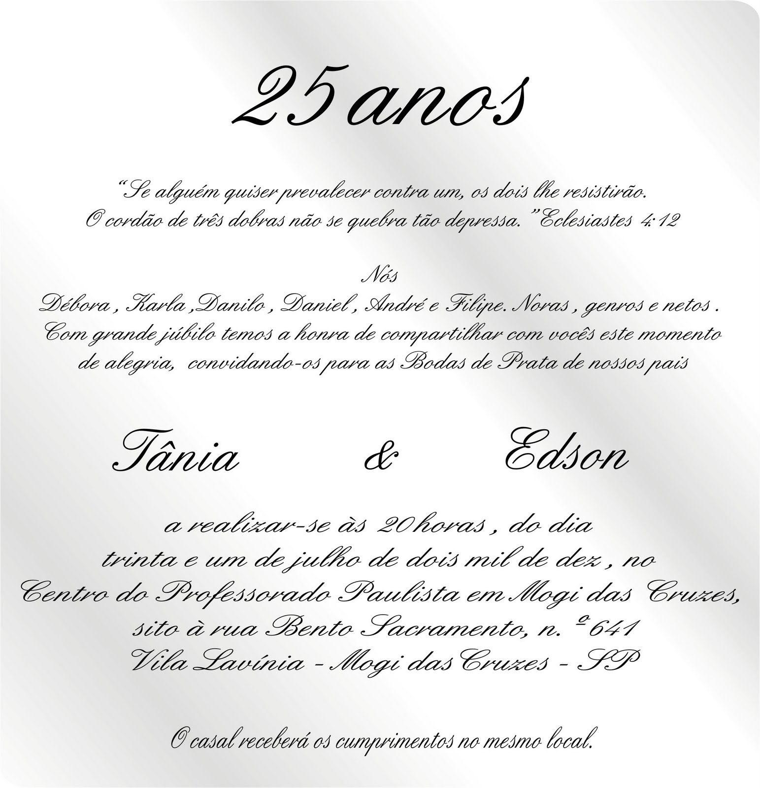 Convite De Bodas De Prata Com Imagens Convites Bodas De Prata
