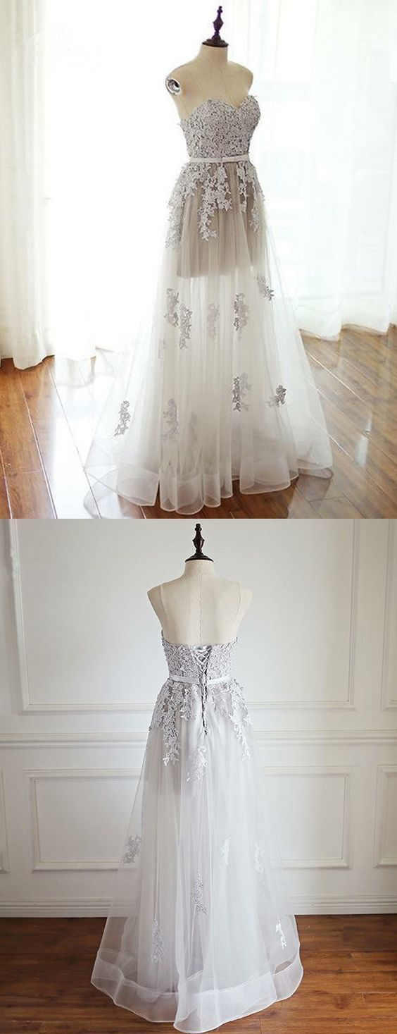 Stylish a line strapless lace up long grey tulle promparty dress