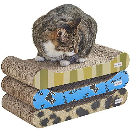 ef98deb6fac6 3 Piece Patterned Cat Scratching Board Lounger Set with Free Catnip 48 x  22.5 x 7.6cm