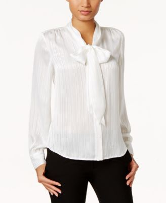 Tommy Hilfiger Metallic Striped Tie-Neck Blouse  28d79813b
