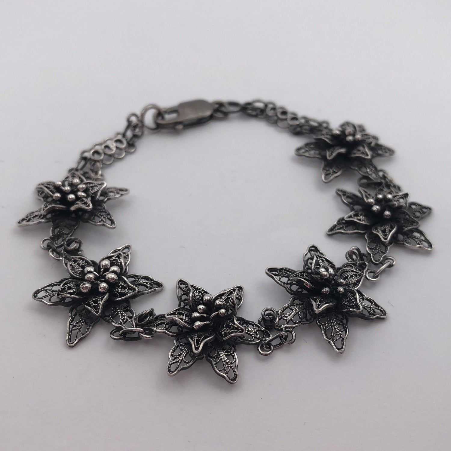 """""""Filigree Bracelet Flor de Amor - Silver Bracelet - Flower Bracelet - Filigree Jewelry - Silver Jewelry - Flower Jewelry - Gift for Mom Filigree - delicate jewellery technique made from silver or golden threads \""""embroidering\"""" kind of metalwork lace that is specific to Spain, especially an Andalusian town Cordoba, where they call it a cordobese filigree. This craftsmanship has been passed from generation to generation, nonetheless nowadays there are very few craftsmen left who know to perform s"""