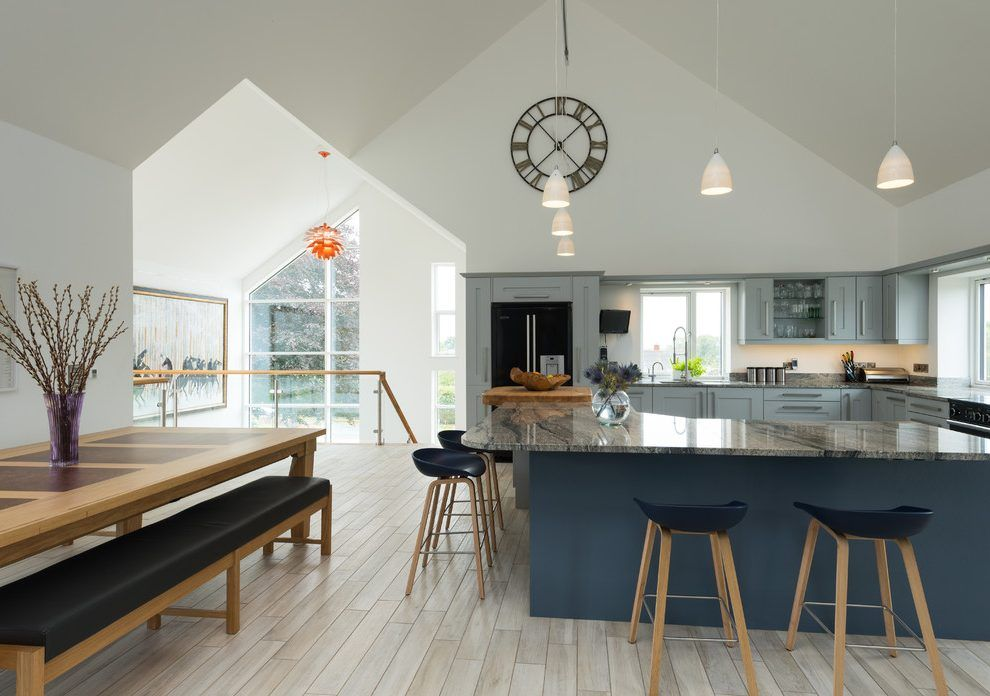 Charmant Large Kitchen Clock Kitchen Contemporary With Shades Of Blue Blue Kitchen  Open Plan Kitchen Diner