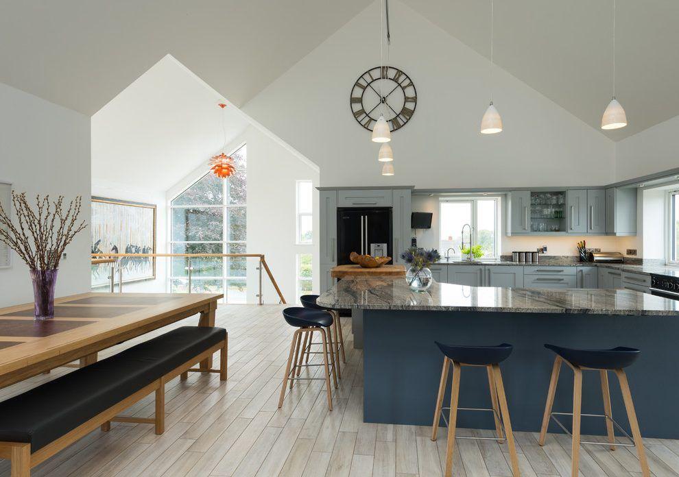 Superieur Large Kitchen Clock Kitchen Contemporary With Shades Of Blue Blue Kitchen  Open Plan Kitchen Diner