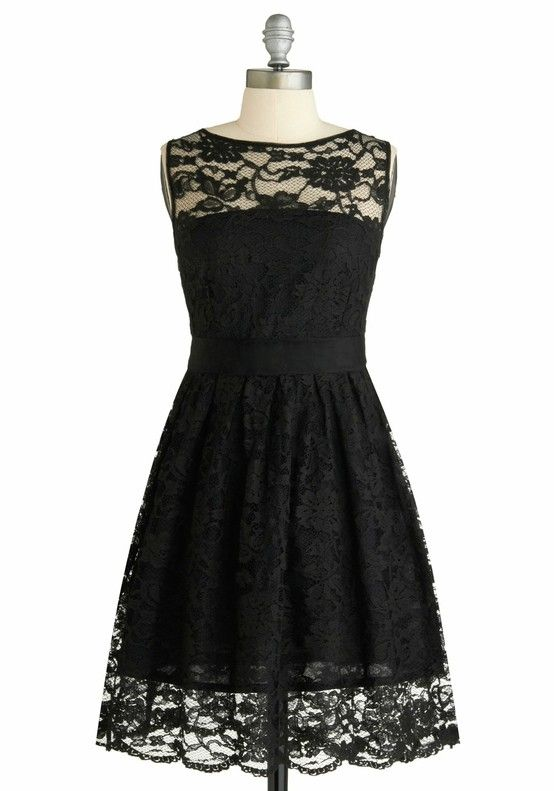 Throw back to the 50's - black lace dress