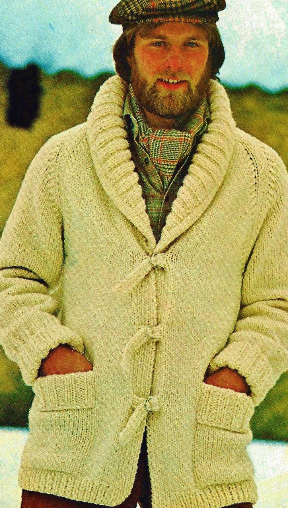 Men\'s Shawl Collar Bulky Cardigan Vintage Knitting Pattern Download ...