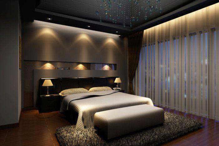 Bedroom With Ambient Lighting Dunkle Schlafzimmer, Romantisches Schlafzimmer,  Schwarze Wohnzimmer, Schlafzimmer Ideen,