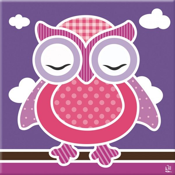 kinderkamer schilderij uil paars roze - schilderijtjes | pinterest, Deco ideeën