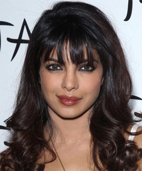 Priyanka Chopra Long Wavy Hairstyle Hair Styles Front Bangs Hairstyles Hairstyle