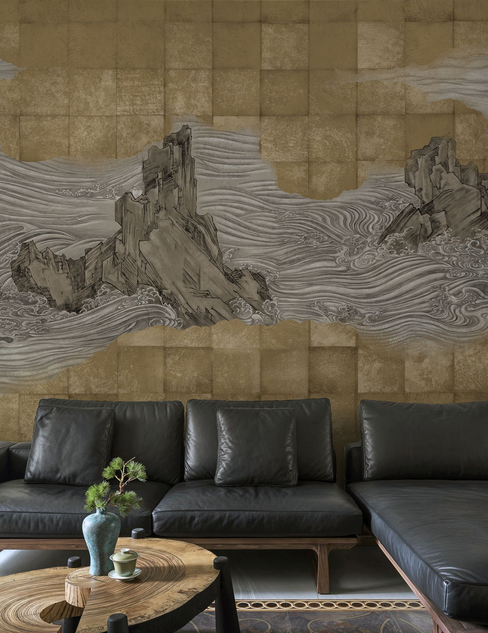 New Chinese Style Mountain Personalized Wallpaper Mural Personalized Wallpaper New Chinese Chinese Style