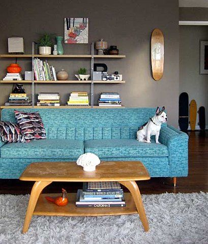 Make your own bookshelf on the wall- loving the teal and grey together.  Be cautious with grey- there are many many types.
