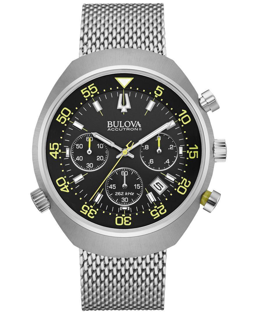 25afb70b8cbb Bulova Accutron Men s Chronograph Stainless Steel Bracelet Watch 45mm  96B236 Moda