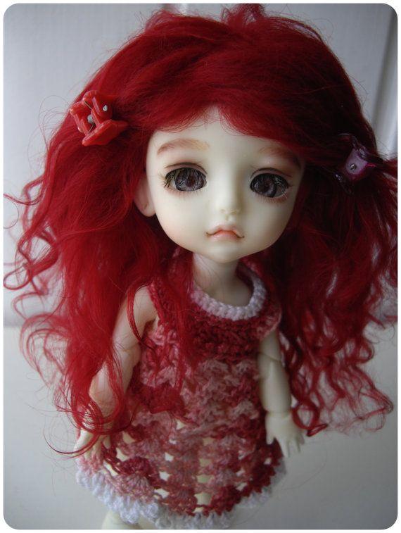 Carmine red tibetan mohair wig for lati by ingriddollyshop on Etsy