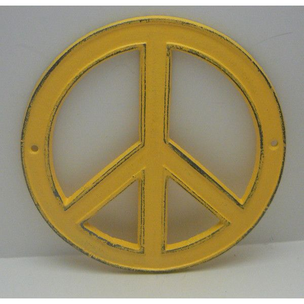 Peace Sign Warm Sunny Lemon Yellow Cast Iron Circle Wall Decor ...