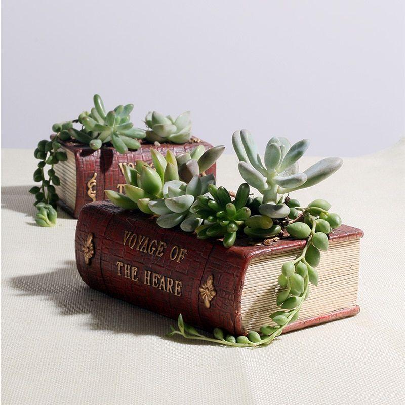 Roogo Resin Flower Pot Book Shape Succulent Pots Europe Type