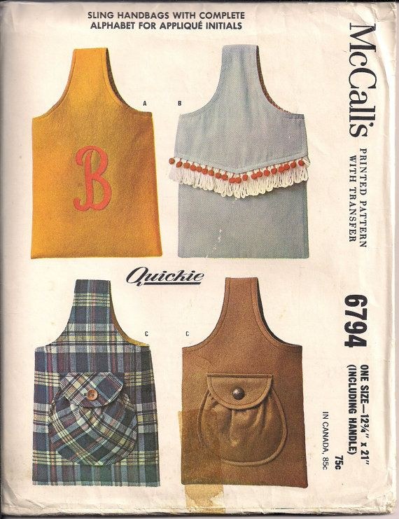 60s Sewing Pattern for SLING HANDBAGS, Boho Purse with Alphabet Applique Transfer - 13