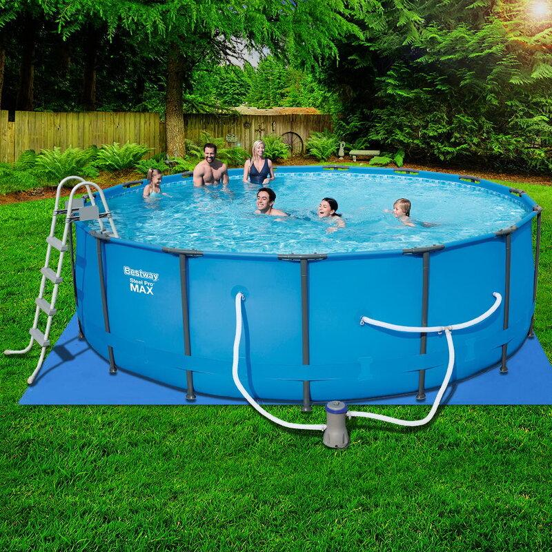 Bestway Above Ground Swimming Pool 15ft Steel Frame Filter Pump Above Ground Swimming Pools Swimming Pools Best Pool Vacuum