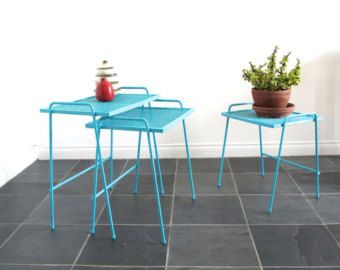 Charming Vintage Metal Patio Furniture   Small Metal Tables   Stacking Side Bench    Nesting Tables