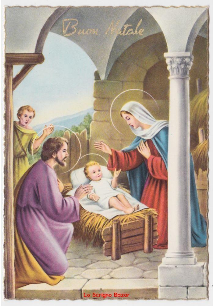 Immagini Natale Sacre.Cartolina Lucida Religiosa Vintage Di Buon Natale Nativita