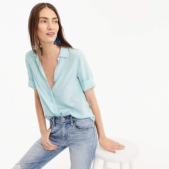 3fc6a2a46b675b J.Crew Petite short-sleeve button-up shirt in silk | Work style ...