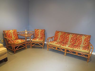 MID CENTURY BAMBOO RATTAN FURNITURE COUCH 2 CHAIRS ...