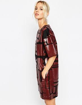 ASOS WHITE – T-Shirt-Kleid mit Laserblockdesign