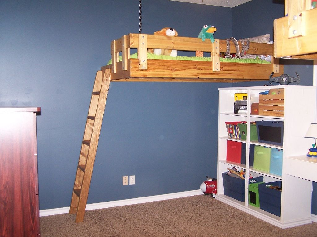My Husband Built These Floating Loft Beds For Our Boys They Absolutely Love Them Loft Bed Big Boys Bedding Loft