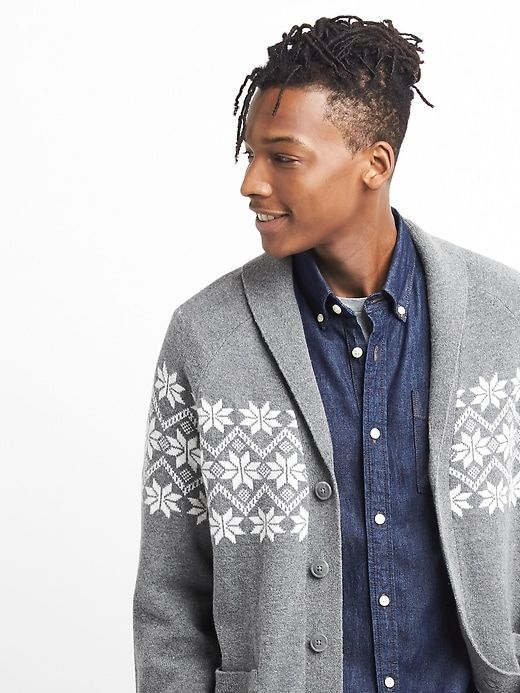 Gap Fair isle shawl-collar cardigan   Heather grey and Products