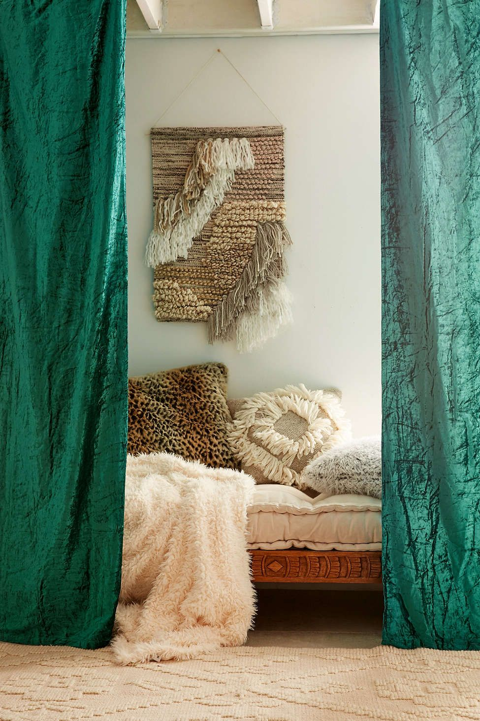 Crushed Velvet Window Curtain Bedroom Curtains
