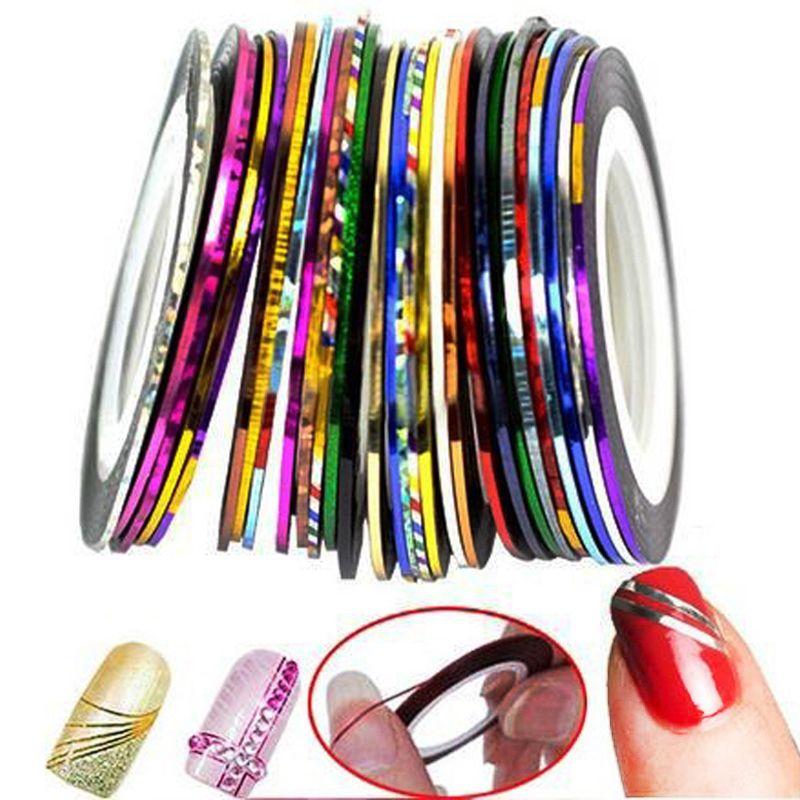 30 colori rolls del nastro della striatura linea nail art sticker strumenti  Decorazioni di bellezza per su adesivi per unghie fai da te consigli unghie arte  Decorazione