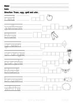 Color spelling practice worksheet for three different kindergarten ...
