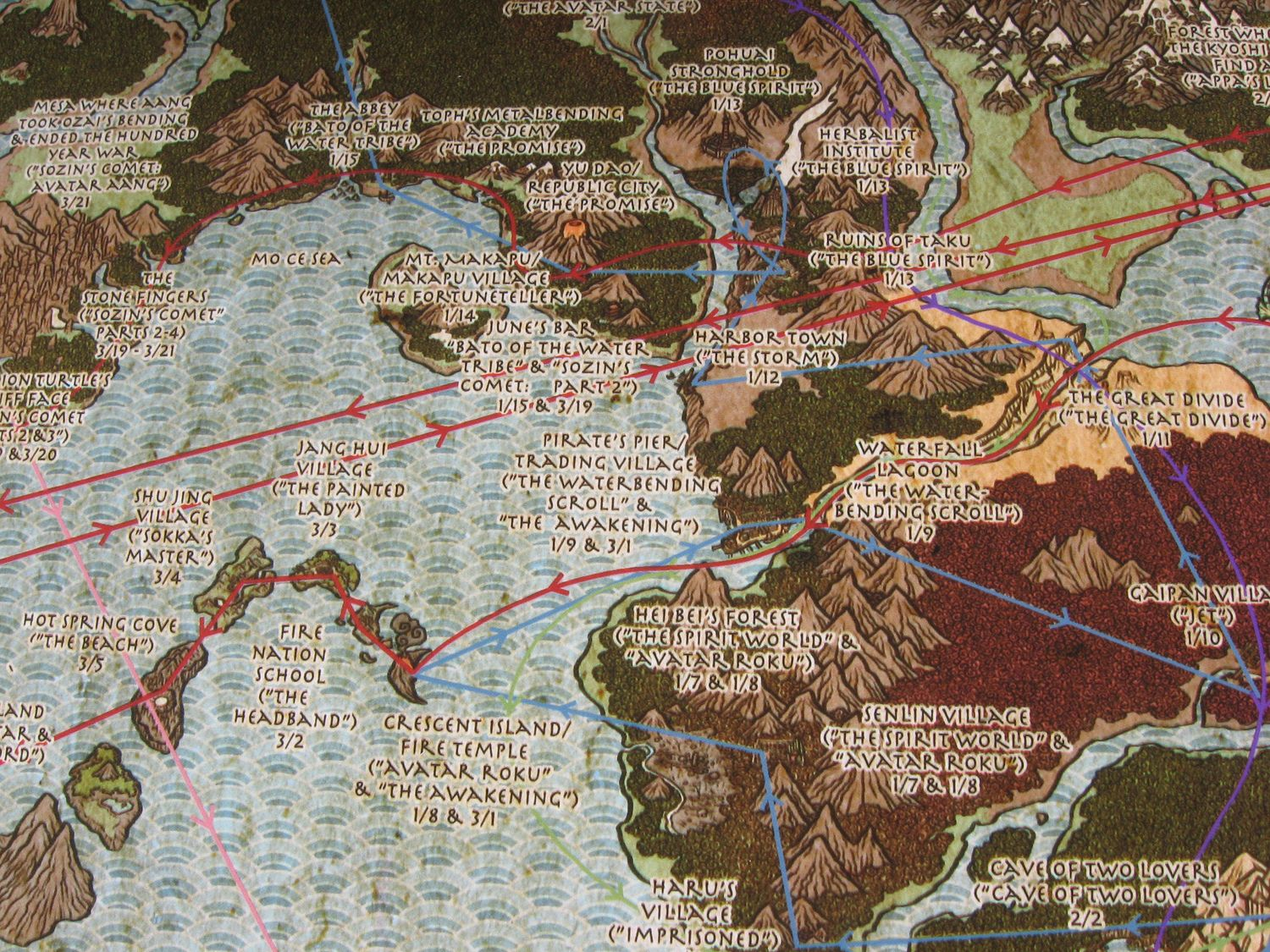 The Avatar\'s World. Detail of a map of the world of Avatar: The Last ...