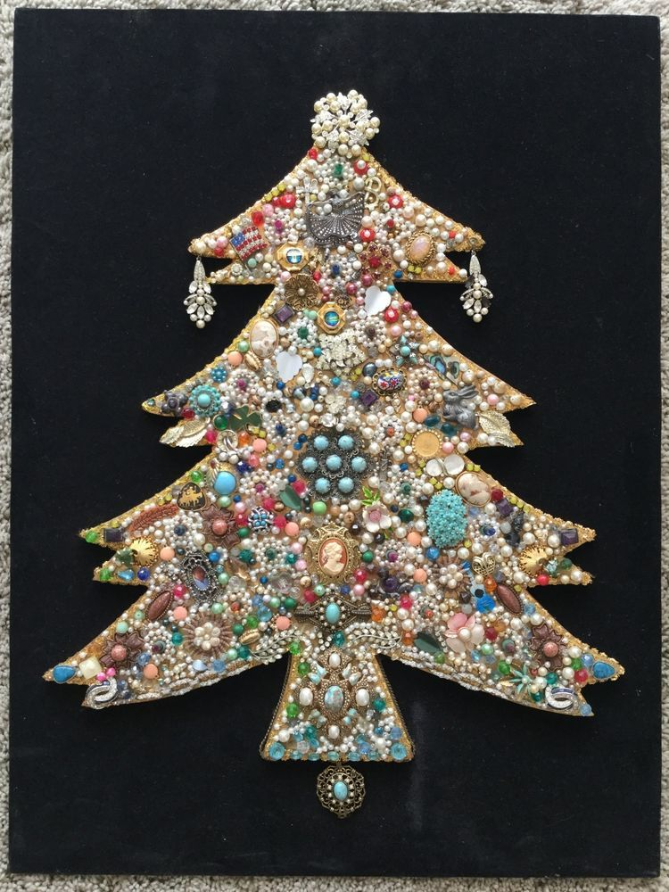 Vintage Jewelry Jeweled Rhinestone Christmas Tree Wall Art Lights Up ...