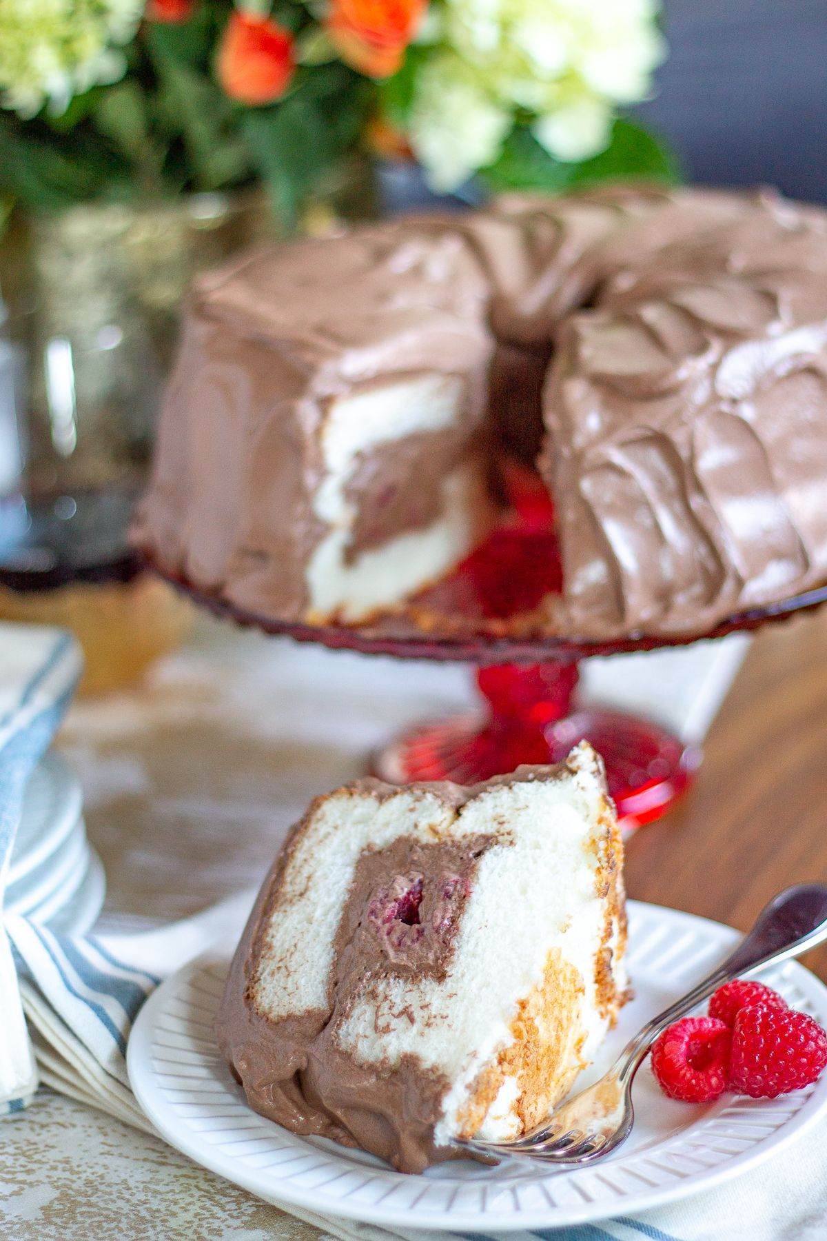 Angel Food Cake With Whipped Chocolate Frosting Recipe Angel
